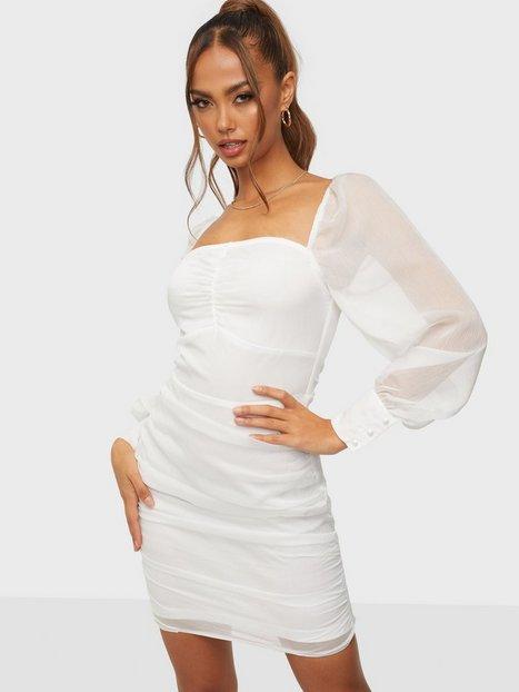 Parisian Sheer Sleeve Mini Dress Tætsiddende kjoler White