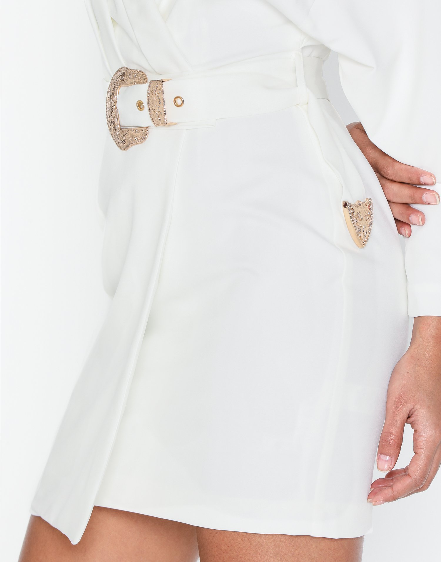 Missguided Plunge Western Belted Shirt Dress