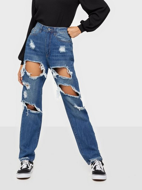 Missguided Riot High Rise Ripped Jean Blue