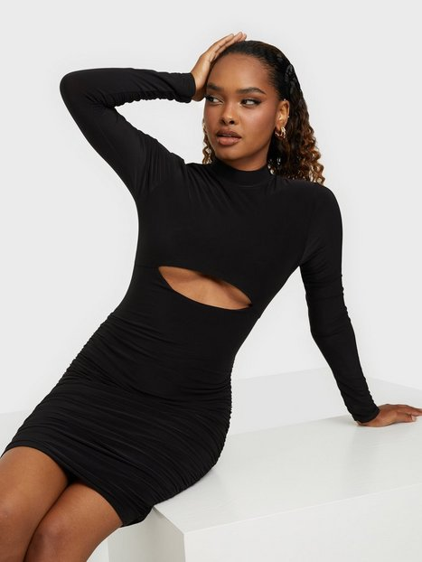 Missguided High Neck Cutout Ruched Mini Dress Skater Dresses