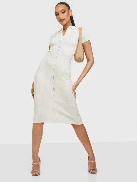 Missguided Ribbed Collar Midi Dress Tætsiddende kjoler