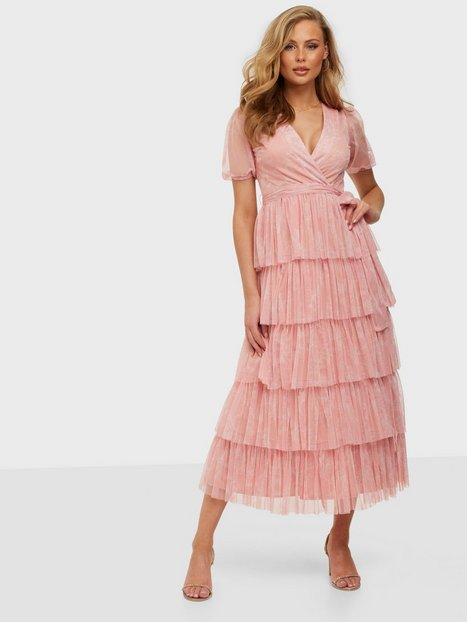 Anaya Wrap Tulle Midaxi Dress Tiered Skirt Maxikjoler