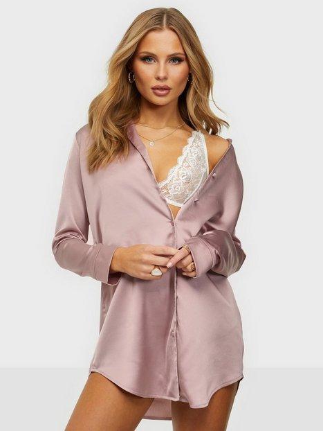 Missguided Satin Shirt Night Dress Nattlinnen
