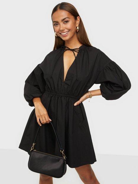 Glamorous Nelly x Glamorous Puff Sleeve Tie Mini Dress Loose fit dresses