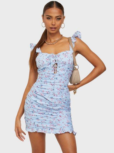 Kiss The Sky By My Side Lace Up Dress Skater kjoler Blue Flower