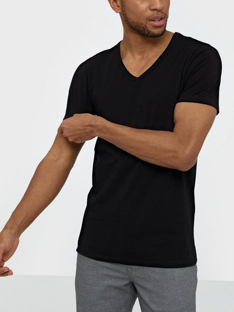 Jack Jones Jjebasic V Neck Tee S S Noos T shirts undertrøjer Sort mand køb billigt