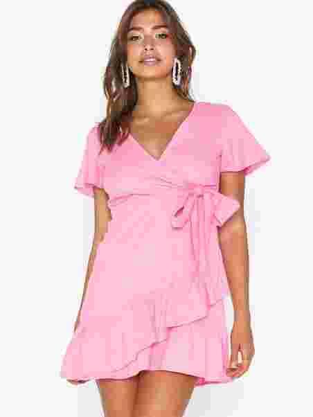 Short Sleeve Wrap Dress Glamorous