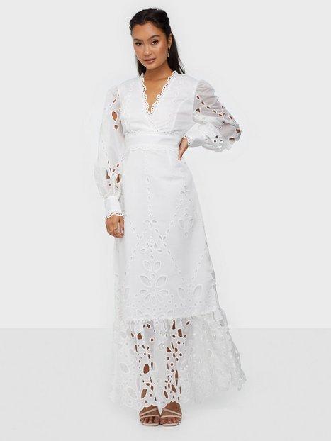 True Decadence Long Sleeve Linen Lace Maxi Dress Maxikjoler