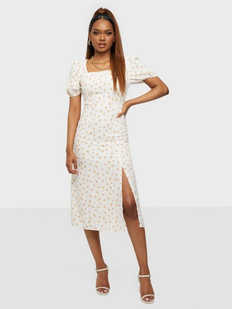 Glamorous Puff Sleeve Midi Slip Dress Skater kjoler White/Pink