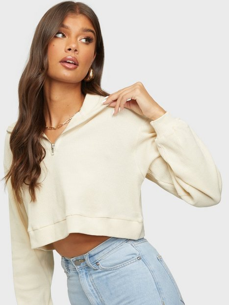 Glamorous Cropped Waffle Zip Sweat Sweatshirts