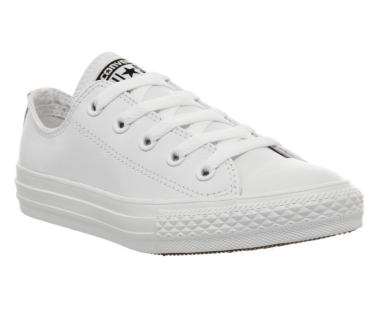 delicadeza Melodrama Pagar tributo  Converse All Star Ox Leather Kids White Mono - Unisex