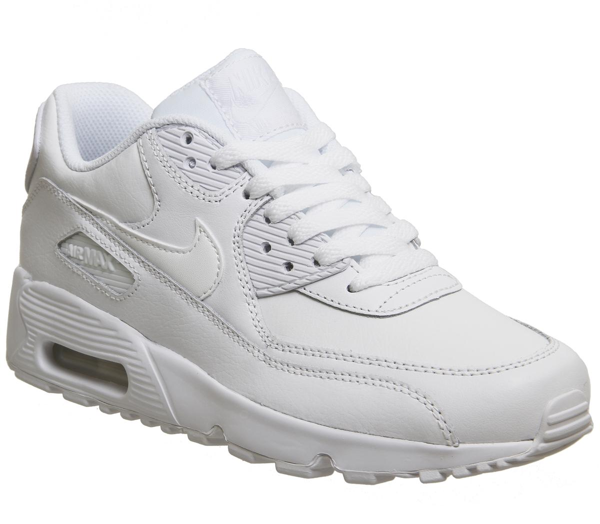 tifón etiqueta Noreste  Nike Air Max 90 Trainers White Mono Leather - Hers trainers