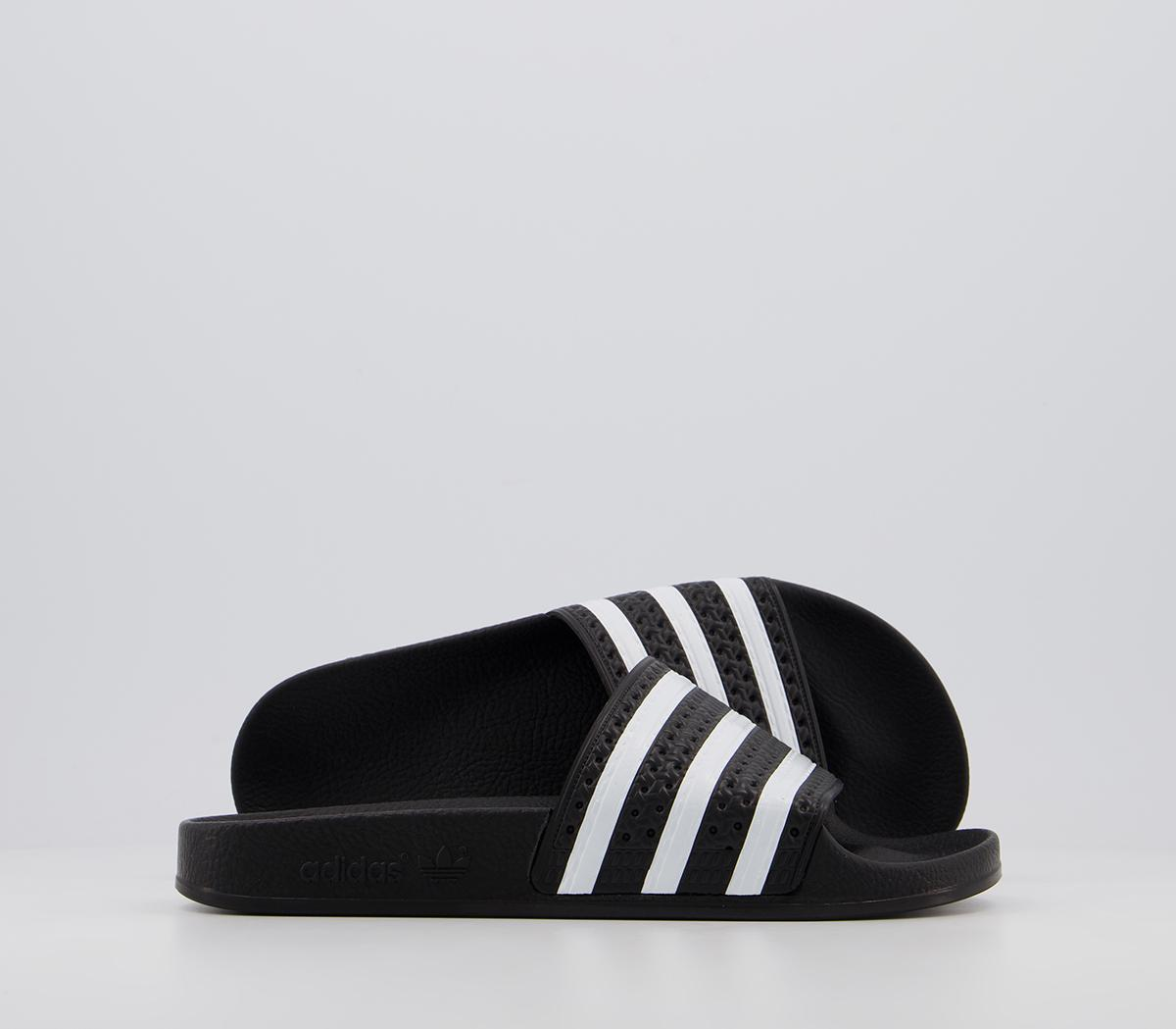 adidas Adilette Sliders Black White
