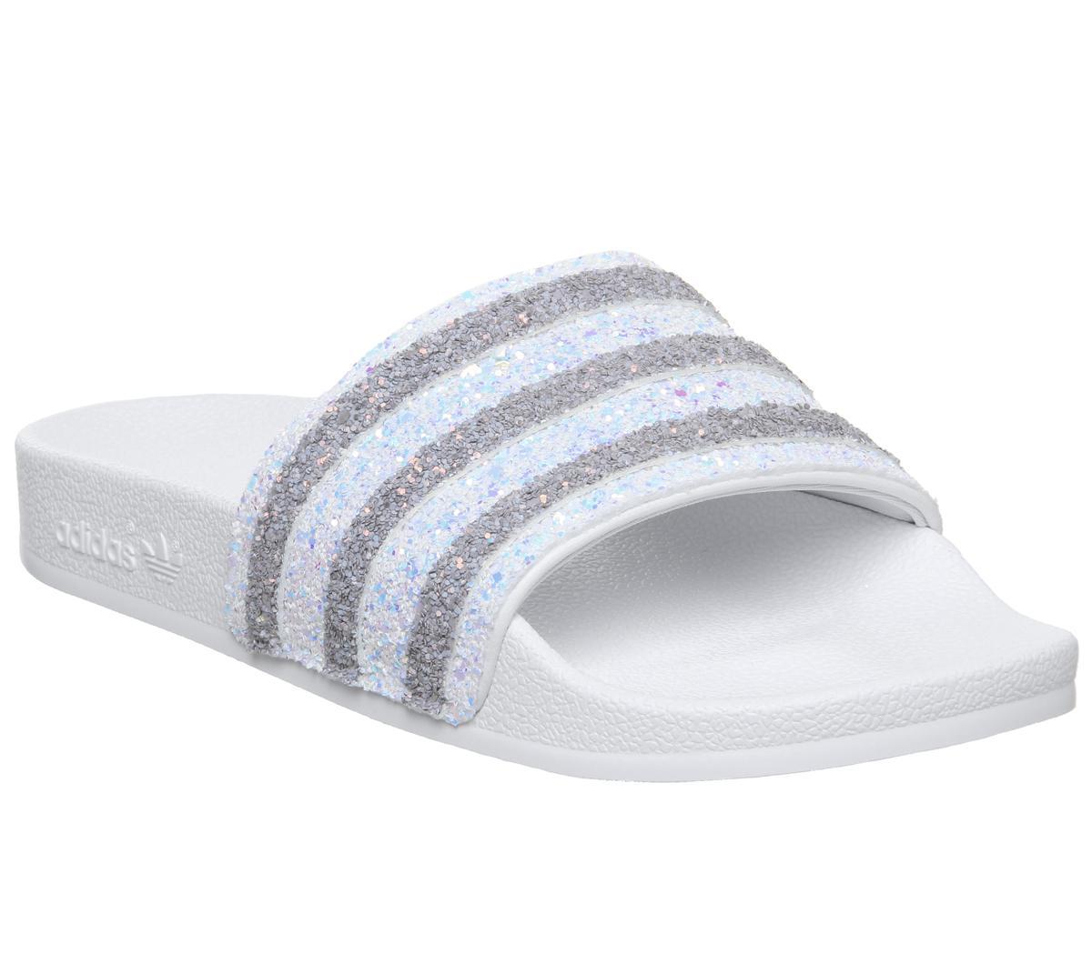 adidas Adilette Sliders White Glitter