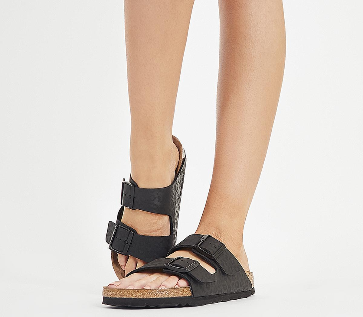 leopard double strap sandals