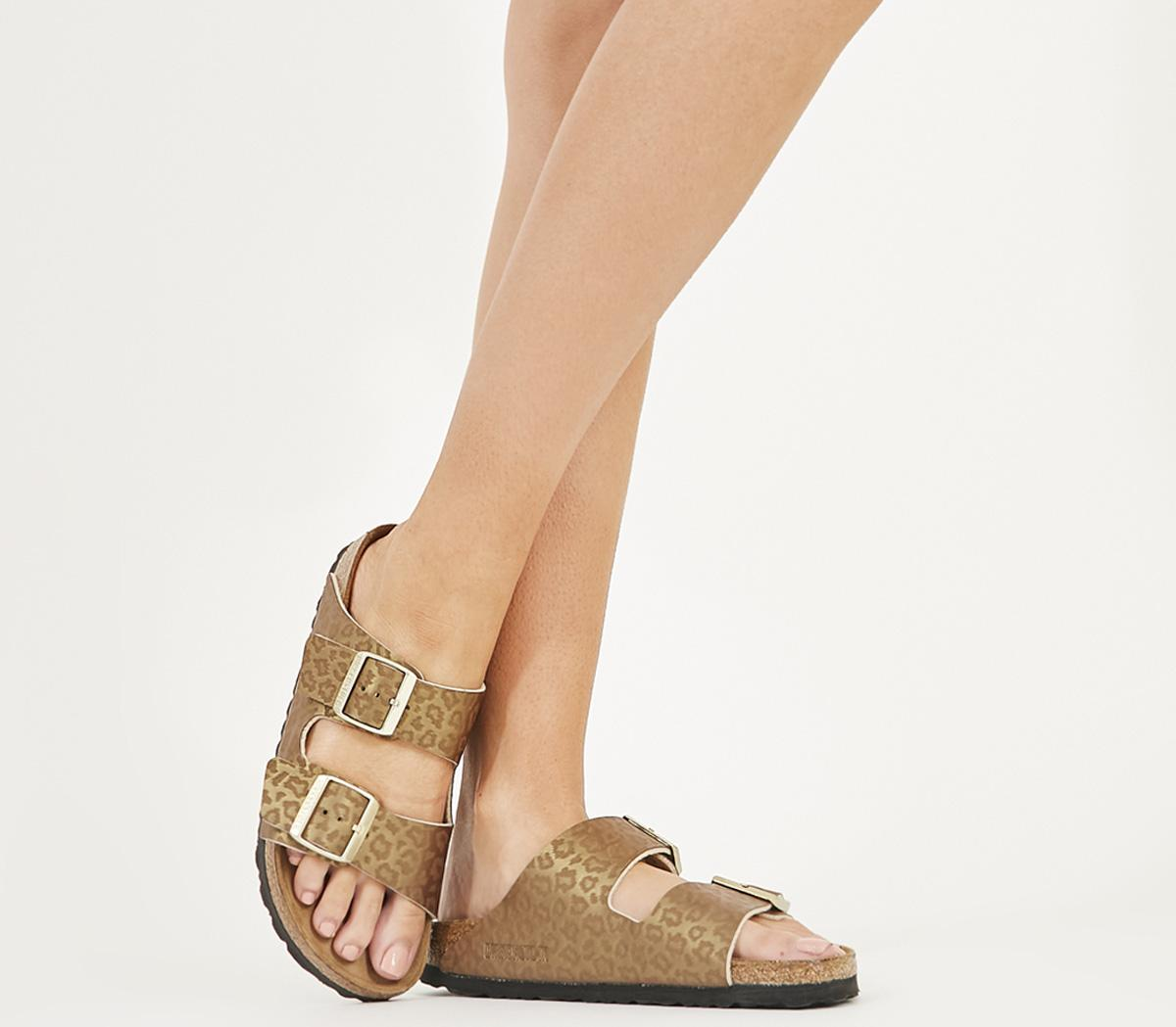 Birkenstock Arizona Two Strap Sandals Gold Leopard Sandals