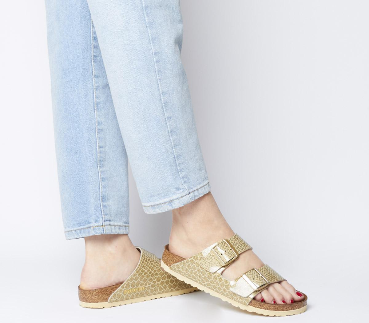 Birkenstock Arizona Two Strap Sandals Magic Snake Gold Sandals
