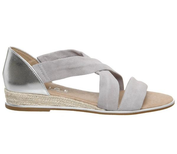 Office Hallie Cross Strap Espadrilles Grey Suede Silver Mix With Silver Metallic Rand - Sandals ZlO1eaZ