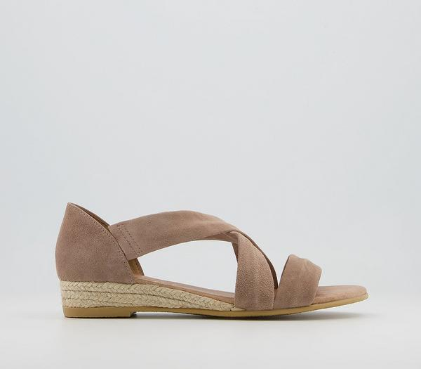 Office Hallie Cross Strap Espadrilles Camel Suede - Sandals GOgwiSb