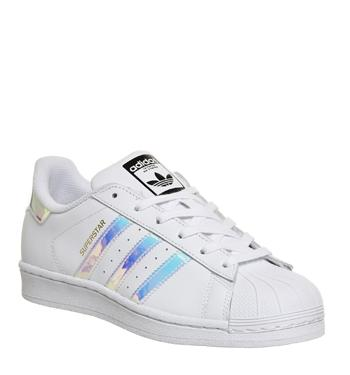 ADIDAS WHITE SILVER Holographic Superstar Trainers UK Size 5
