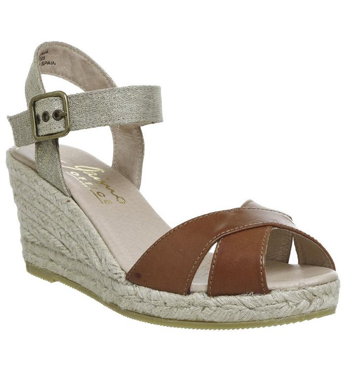 Gaimo for OFFICE Gaimo for OFFICE Cury Wedge Espadrille TAN LEATHER METALIC LINEN