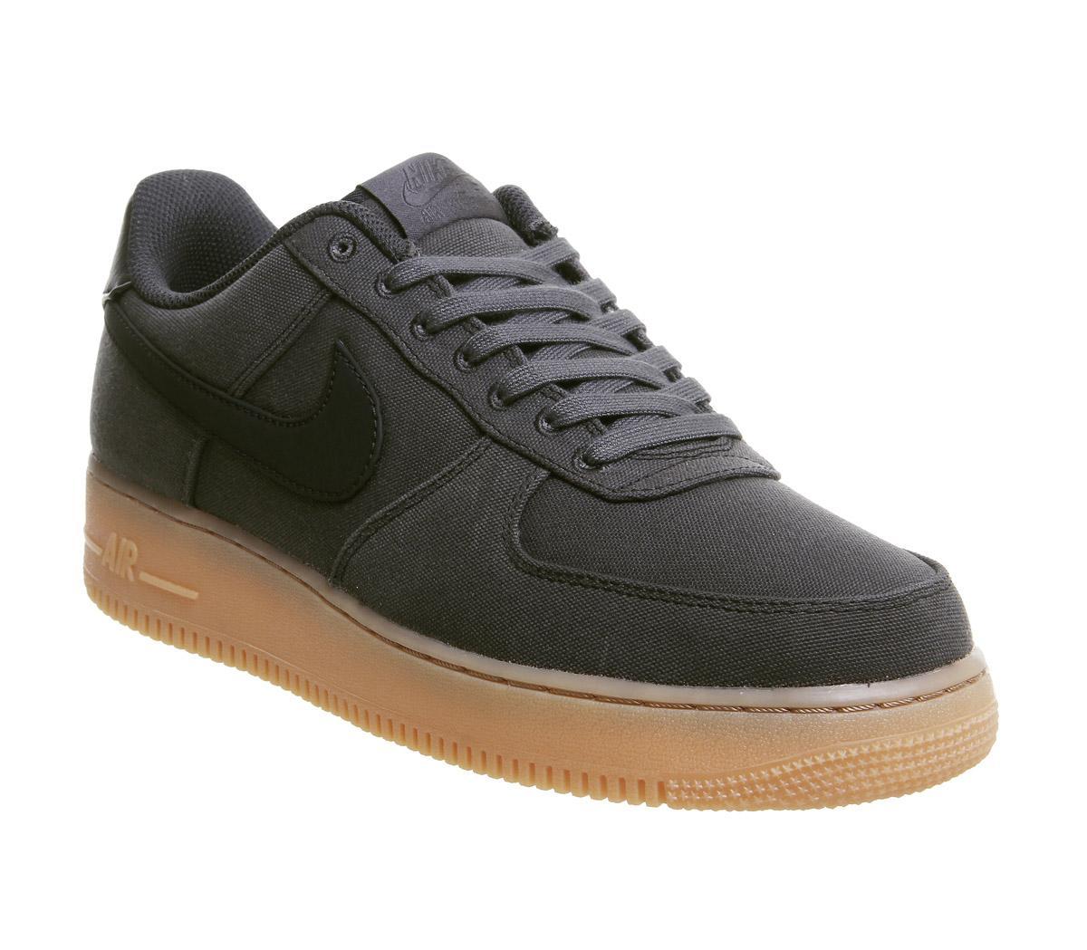 nike air force one trainers black black gum
