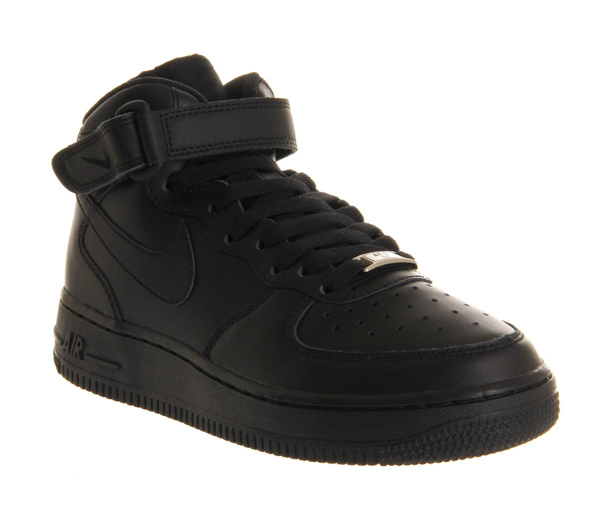 Nike Air Force 1 Mid Black - Kids Trainers