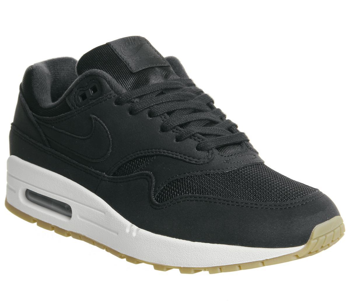Nike Air Max 1 Trainers Black Gum F