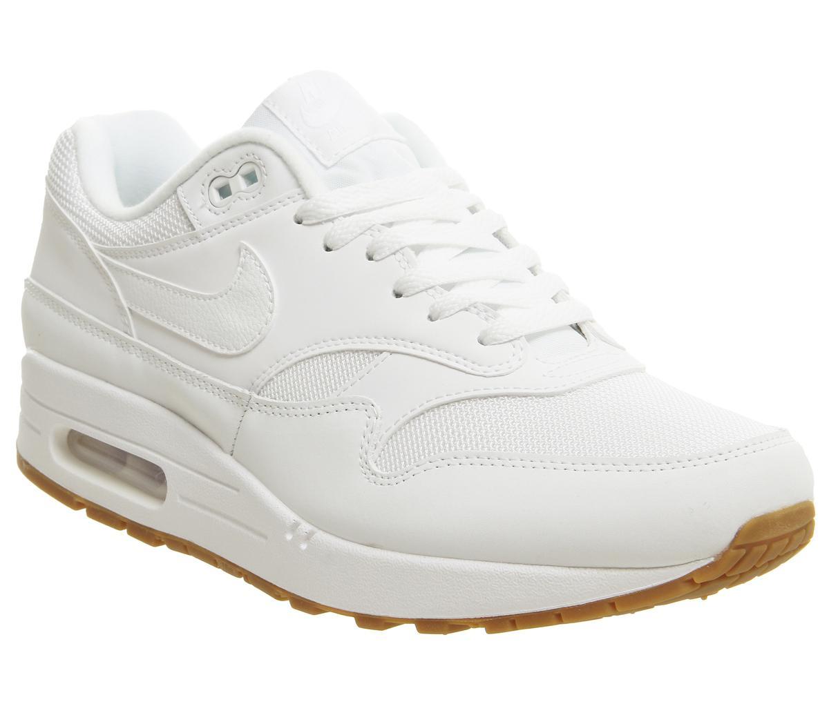 Alternativa tuberculosis Derechos de autor  Nike Air Max 1 Trainers White White Gum Medium Brown - His trainers