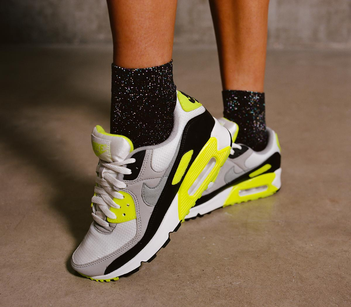 Airing Always Supplement  Nike Air Max 90 Trainers White Grey Volt - Hers trainers