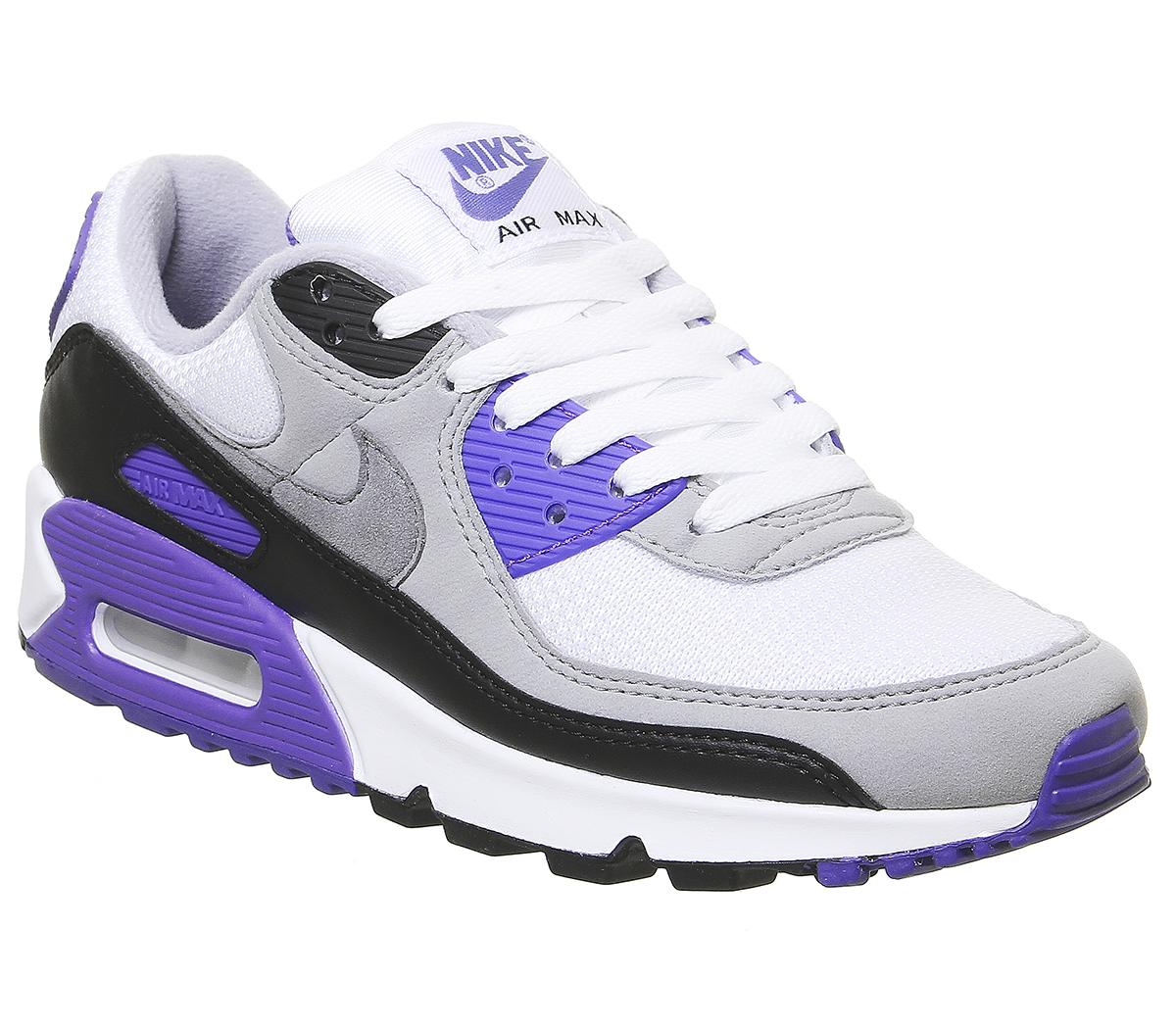 camino convergencia Condición previa  Nike Air Max 90 Trainers White Grey Hyper Grape - Unisex Sports
