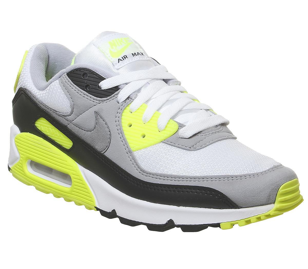 Aparentemente Ortodoxo Especialmente  Nike Air Max 90 Trainers White Particle Grey Black Volt - Unisex Sports