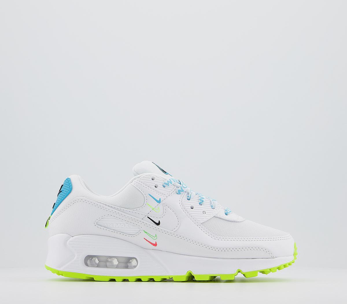Nike Air Max 90 White Blue Fury Volt