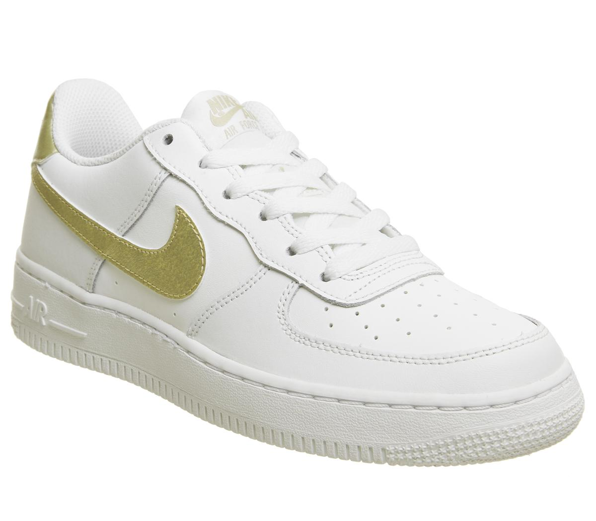 nike air force gold white