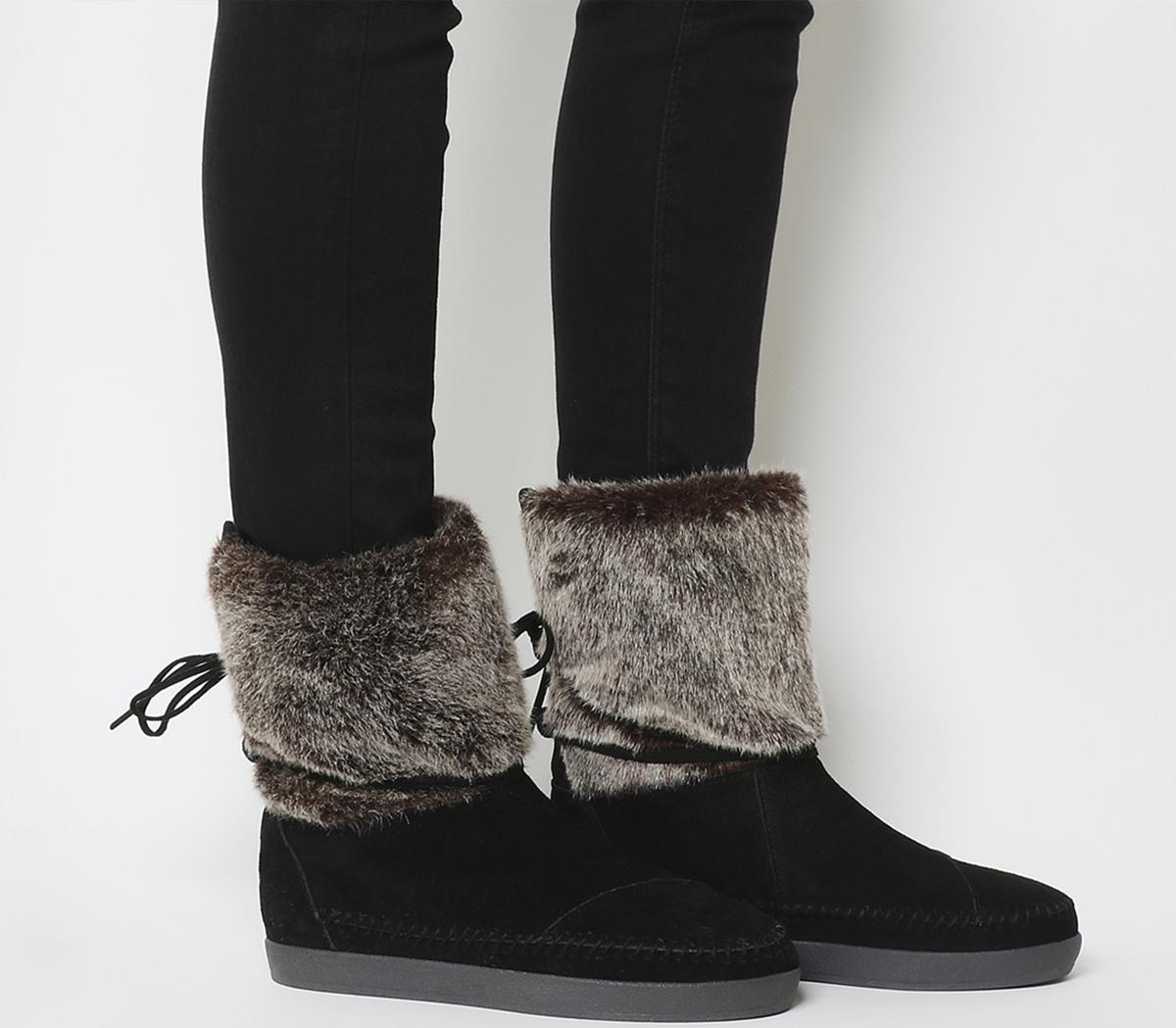 Toms Nepal Boots Black Suede Faux Hair