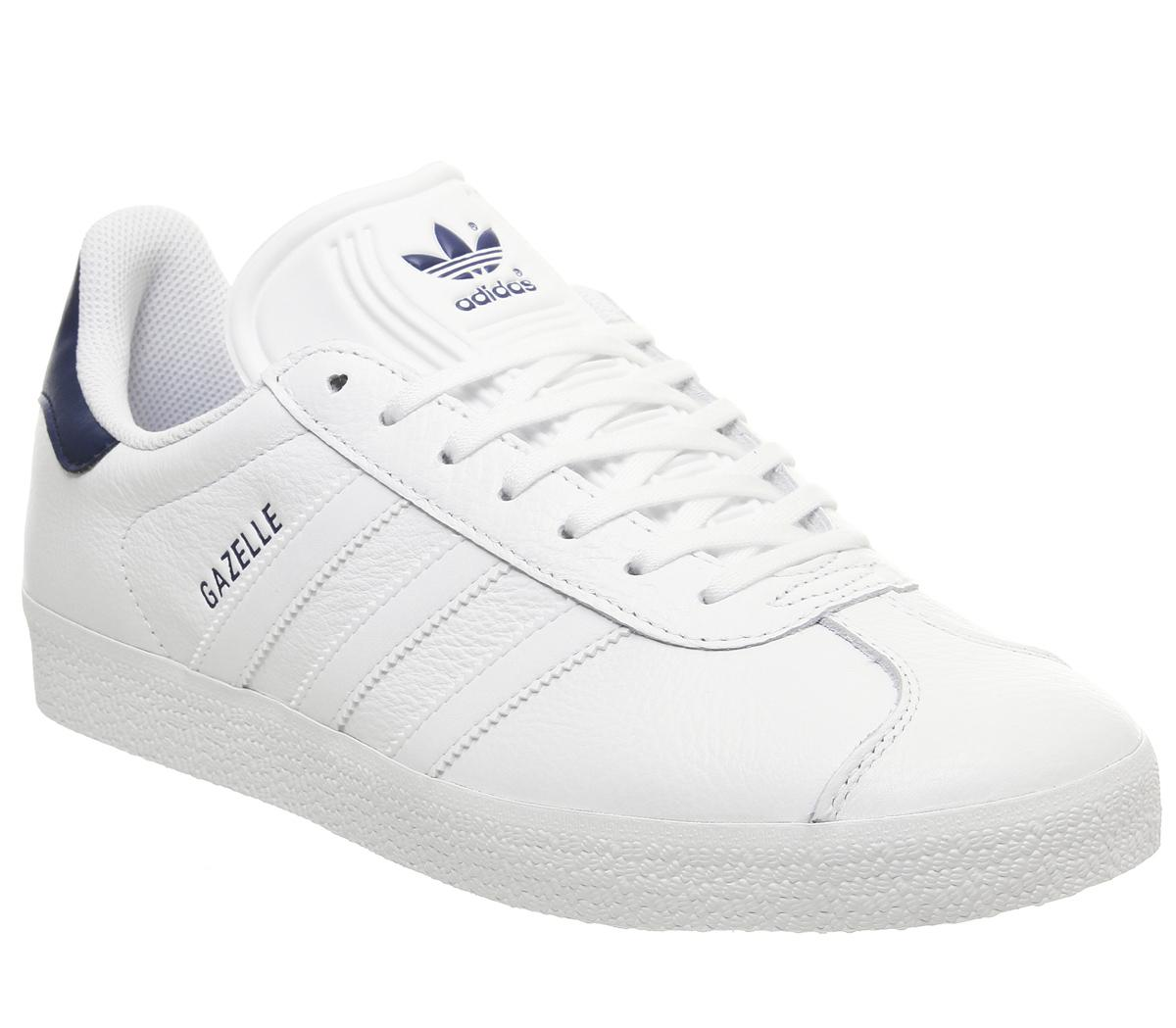 white leather gazelle trainers cheap online