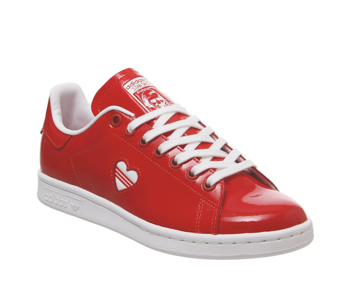 adidas stan smith trainers white red heart