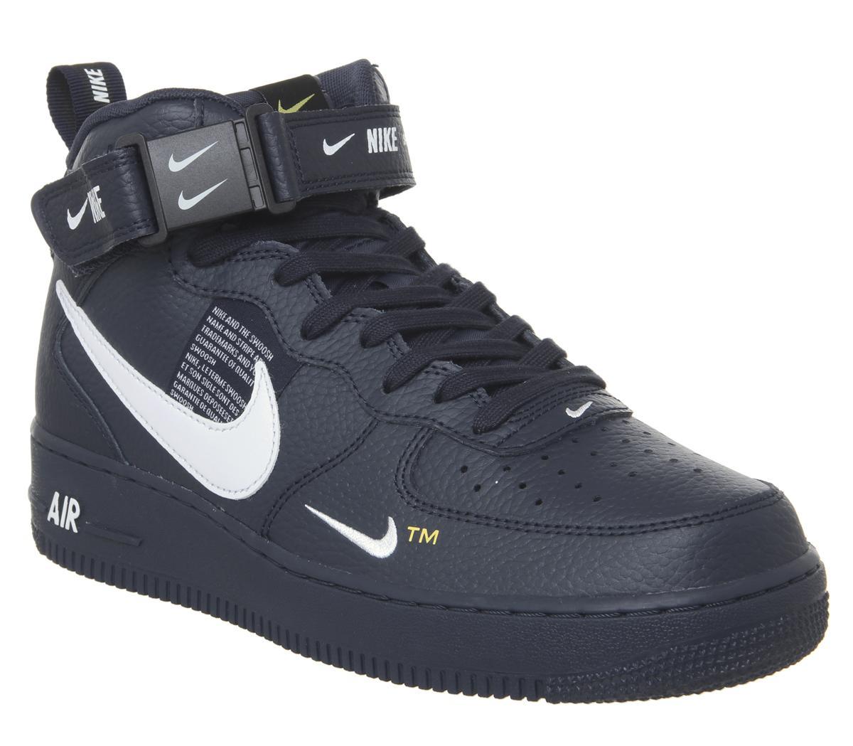 Generalmente Médico segunda mano  Nike Air Force 1 Mid Lv8 Trainers Obsidian White Black Tour Yellow - His  trainers
