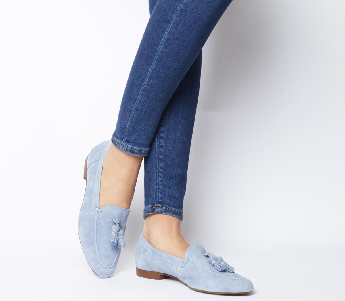 Office Retro Tassel Loafers Light Blue