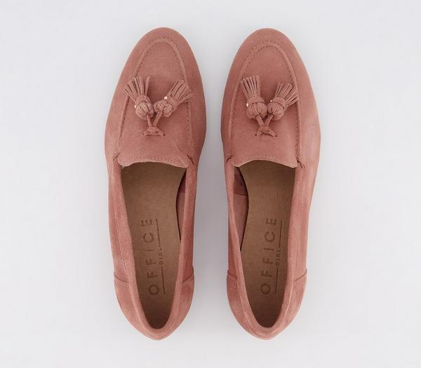 Office Retro Tassel Loafers Dusty Pink Suede - Flats A78NW4a