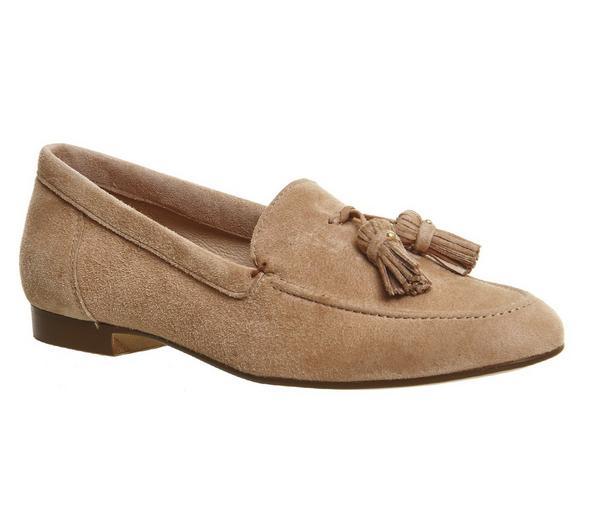 Office Retro Tassel Loafers Nude Suede - Flats GHwEKYN