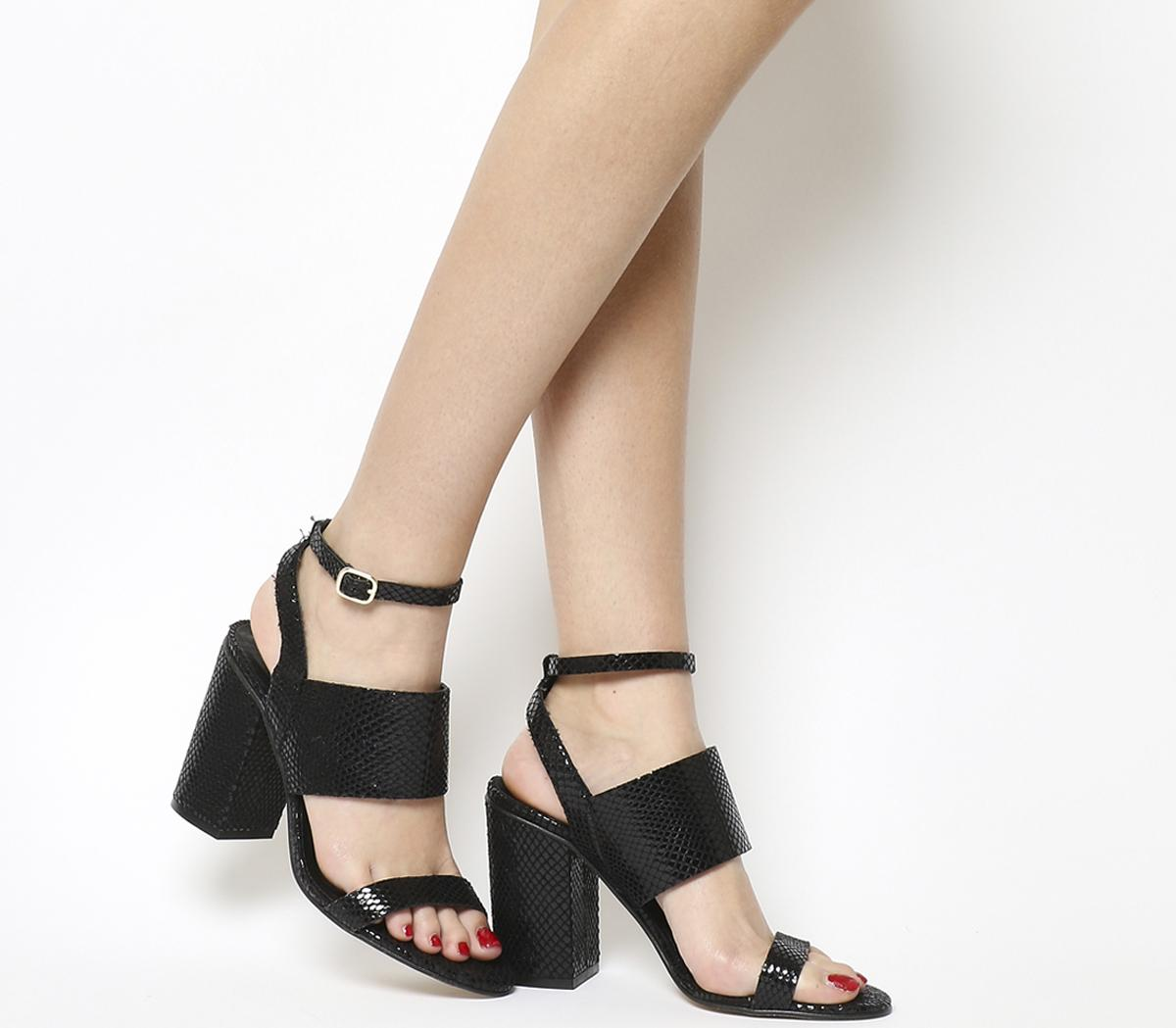 Time 3 Strap Block Heel Sandals