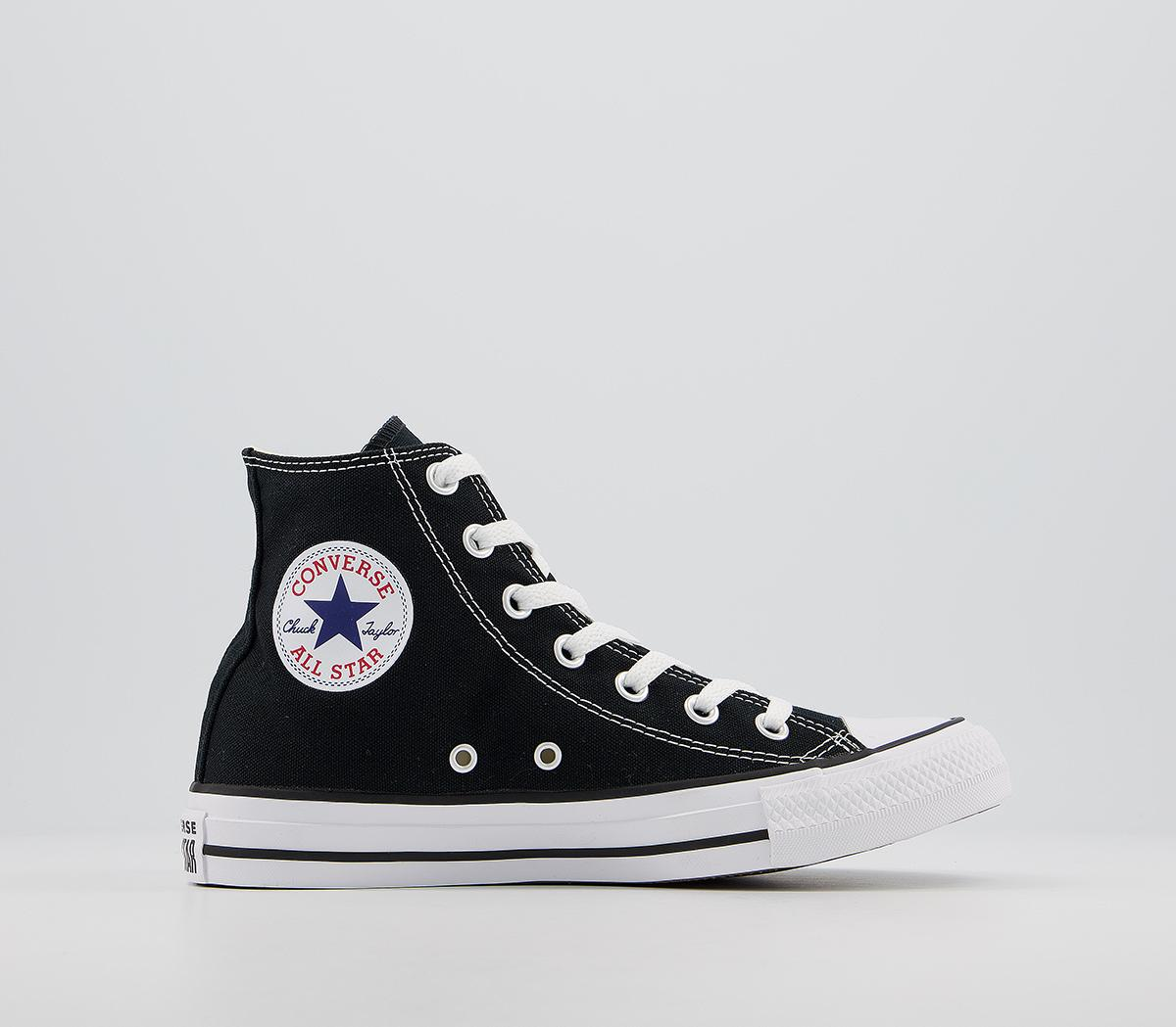 Pais de Ciudadania Perceptible alondra  Converse All Star Hi Trainers Black Canvas - Unisex Sports