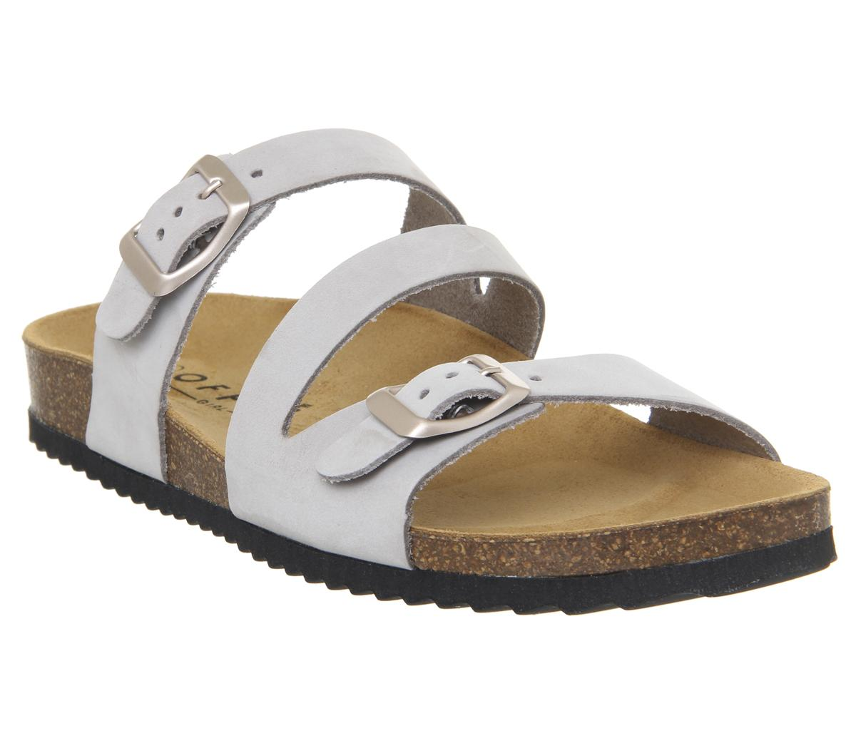 Womens Office Bounty Cross Strap Footbed Sandals Grey Nubuck Rose Gold Buckles S