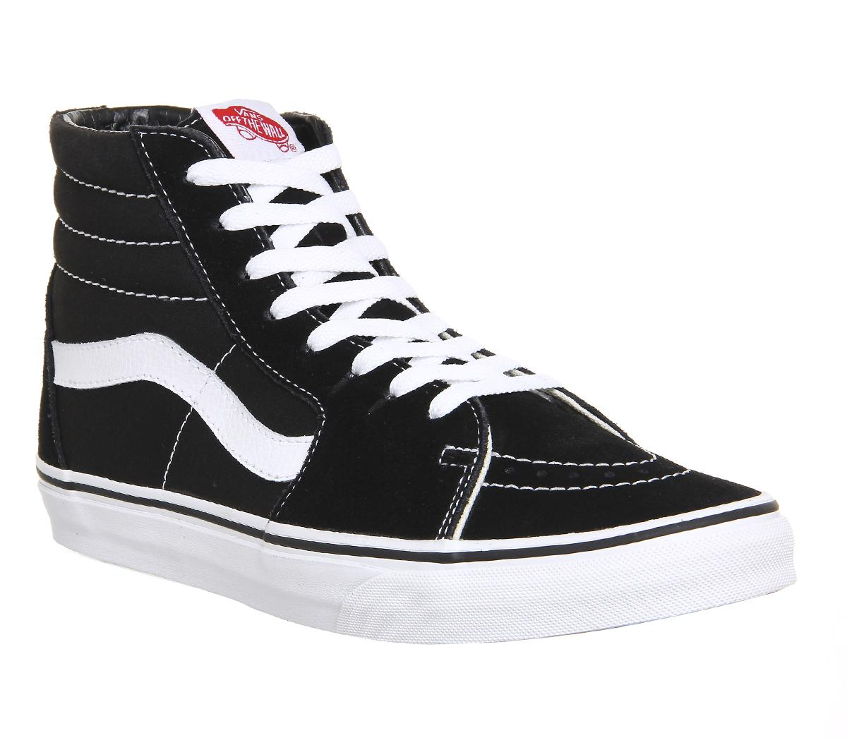 womens black & white vans sk8 hi suede trainers | schuh