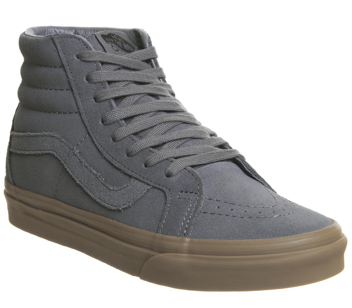 Vans Sk8 Hi Trainers Grey Suede Gum