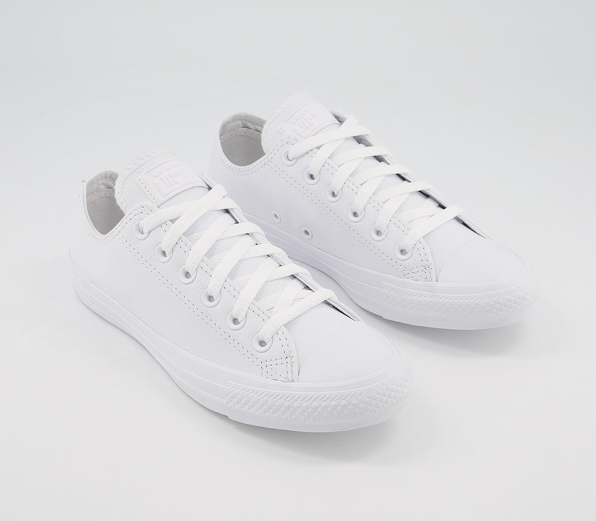 plain white leather converse
