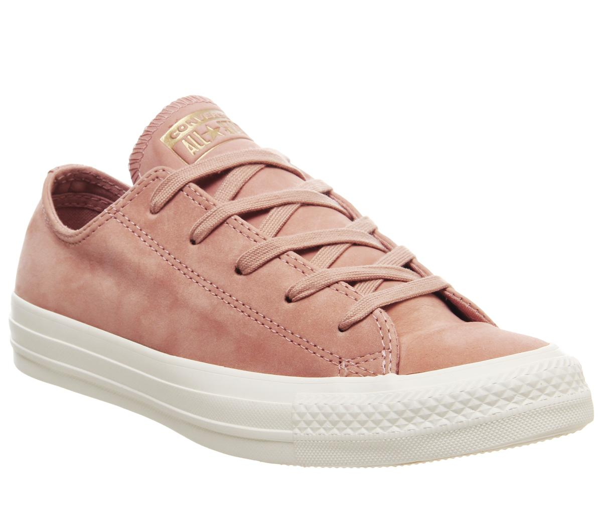 Converse Allstar Low Leather Trainers Rose Gold Egret