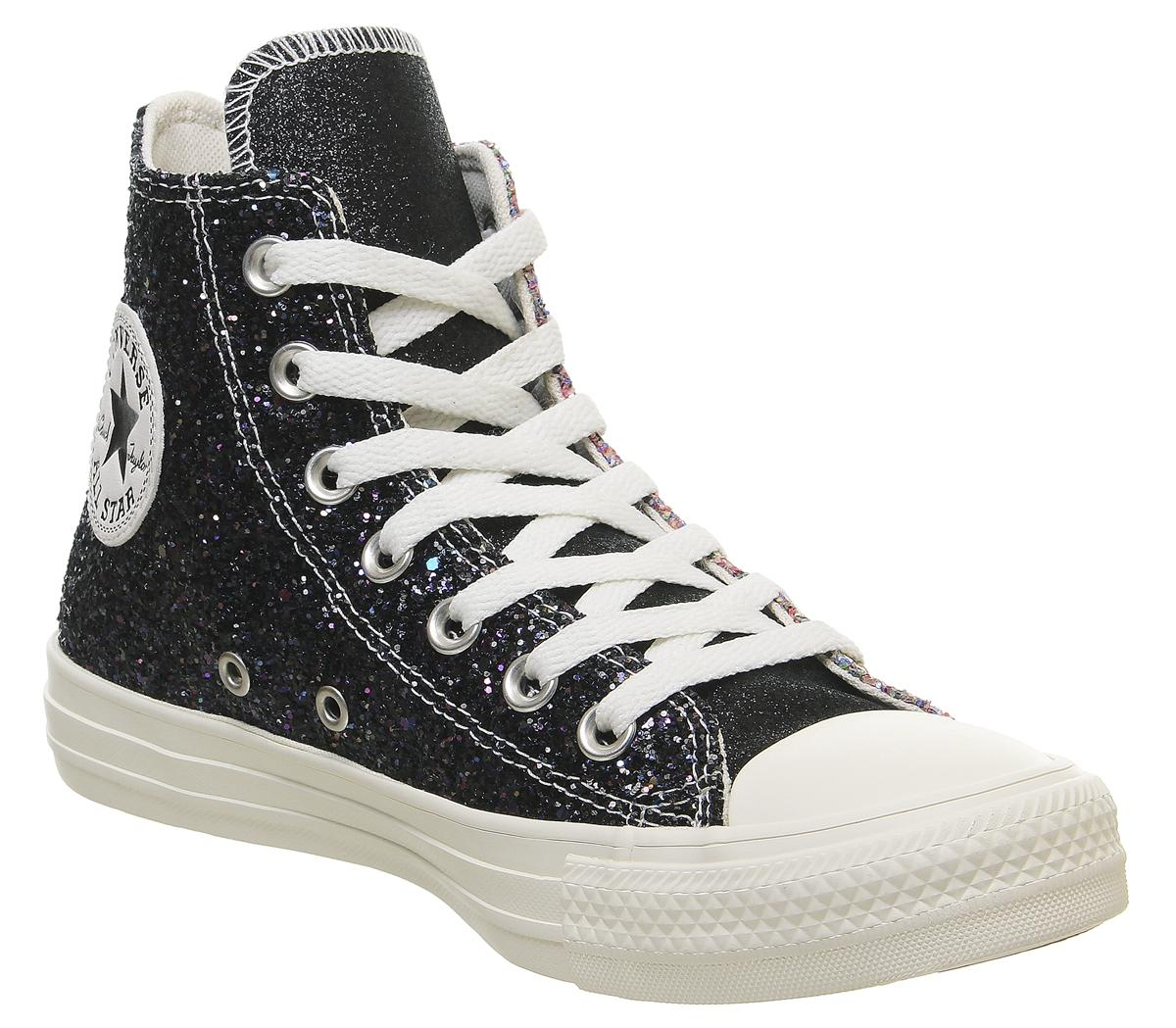 Converse All Star Hi Leather Trainers Black Pink Glitter