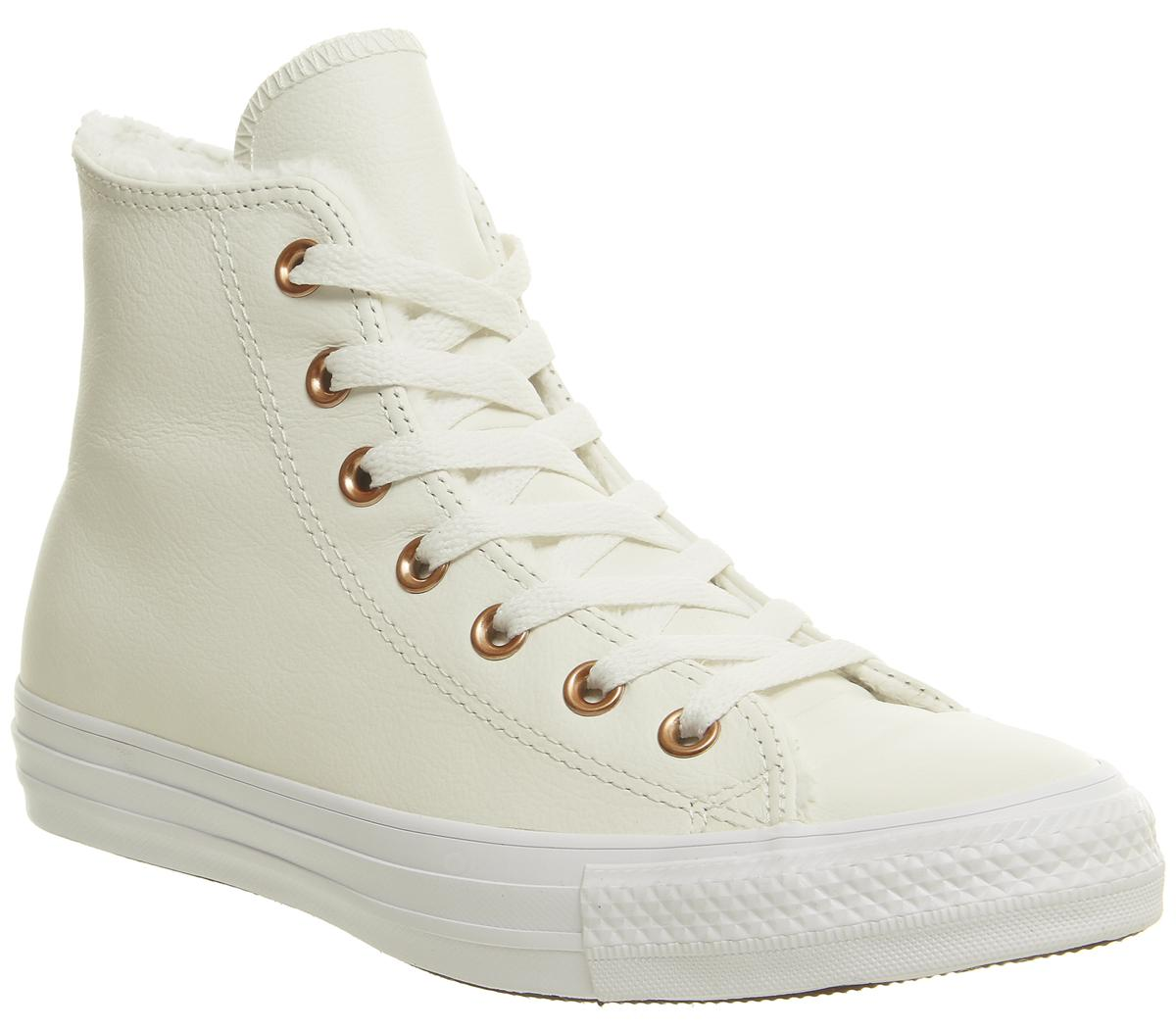 Converse All Star Hi Leather Egret Fur Hers Trainers